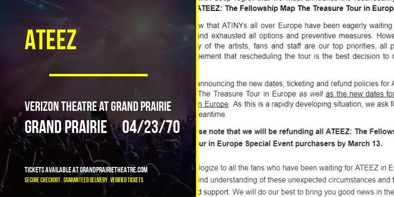 Ateez [POSTPONED] at Verizon Theatre at Grand Prairie
