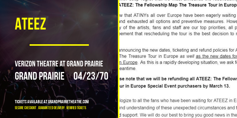 Ateez [POSTPONED] at Verizon Theatre at Grand Prairie